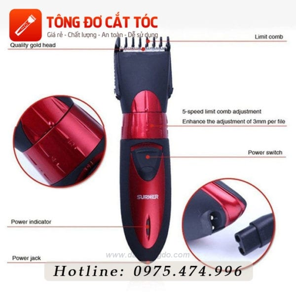 Tông đơ cắt tóc surker hc - 7068 10 - surker 7068
