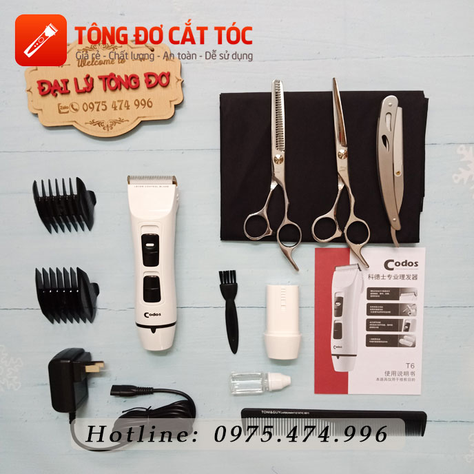 Combo tông đơ cắt tóc chuyên nghiệp: codos t6 + kéo cắt + kéo tỉa + áo choàng + dao cạo + lược 30 - combo t6