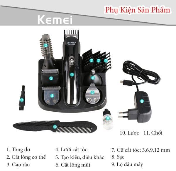 Tông đơ cắt tóc đa năng 6 trong 1 kemei km-600 8 - tong do cat toc da nang 6 trong 1 kemei km 600 8
