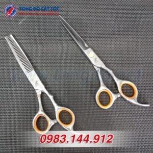 Bộ kéo cắt tỉa tóc freelander cao cấp (tặng kèm bao da đựng kéo cao cấp + 2 lược toniguy) 11 - bo keo freelander vang 1