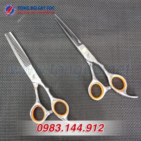 Bộ kéo cắt tỉa tóc freelander cao cấp (tặng kèm bao da đựng kéo cao cấp + 2 lược toniguy) 7 - bo keo freelander vang 1