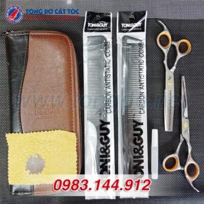 Bộ kéo cắt tỉa tóc freelander cao cấp (tặng kèm bao da đựng kéo cao cấp + 2 lược toniguy) 15 - bo keo freelander vang 2