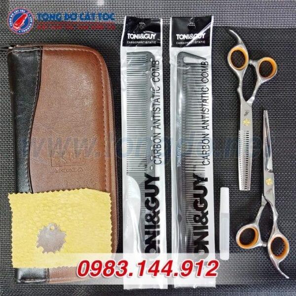 Bộ kéo cắt tỉa tóc freelander cao cấp (tặng kèm bao da đựng kéo cao cấp + 2 lược toniguy) 5 - bo keo freelander vang 2