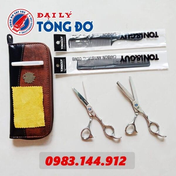 Bộ kéo cắt tỉa tóc kasho nhật bản (tặng kèm bao da đựng kéo cao cấp + 2 lược toniguy) 5 - kéo kasho 4