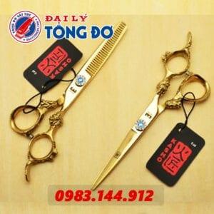 Bộ kéo cắt tỉa tóc kasho rồng vàng nhật bản (tặng kèm bao da đựng kéo cao cấp + 2 lược toniguy) 26 - keo kasho vang 2
