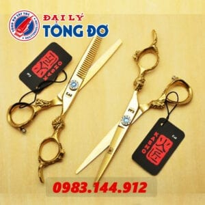 Bộ kéo cắt tỉa tóc kasho rồng vàng nhật bản (tặng kèm bao da đựng kéo cao cấp + 2 lược toniguy) 24 - keo kasho vang 3