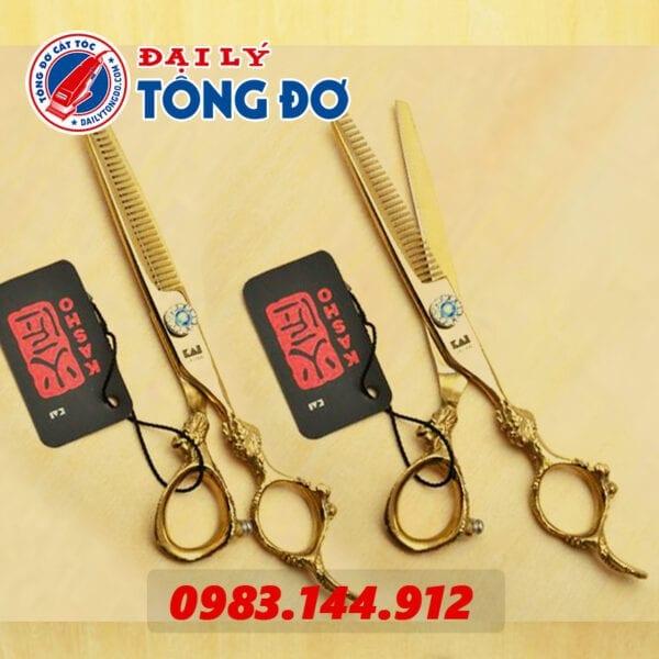 Bộ kéo cắt tỉa tóc kasho rồng vàng nhật bản (tặng kèm bao da đựng kéo cao cấp + 2 lược toniguy) 9 - keo kasho vang 5
