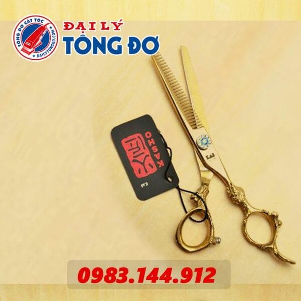 Bộ kéo cắt tỉa tóc kasho rồng vàng nhật bản (tặng kèm bao da đựng kéo cao cấp + 2 lược toniguy) 8 - keo kasho vang 6