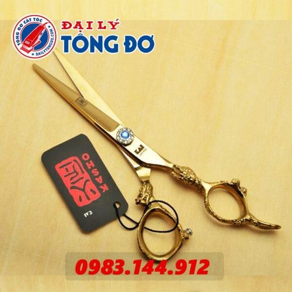 Bộ kéo cắt tỉa tóc kasho rồng vàng nhật bản (tặng kèm bao da đựng kéo cao cấp + 2 lược toniguy) 6 - keo kasho vang 8