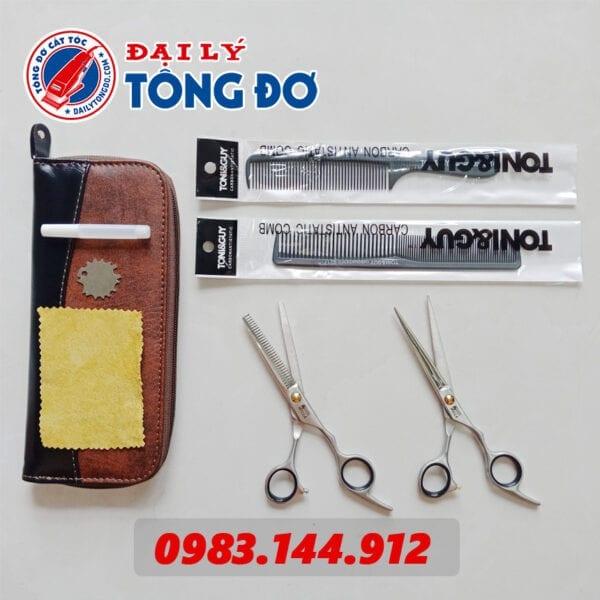 Bộ kéo cắt tỉa tóc wella đức (tặng kèm bao da đựng kéo cao cấp + 2 lược toniguy) 5 - keo wella 1