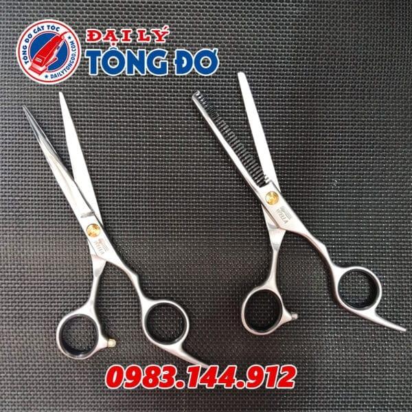 Bộ kéo cắt tỉa tóc wella đức (tặng kèm bao da đựng kéo cao cấp + 2 lược toniguy) 6 - keo wella 4