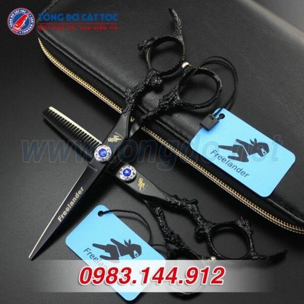 Bộ kéo feelander thép nhật tay rồng cao cấp (tặng kèm bao da đựng kéo cao cấp + 2 lược toniguy) 5 - kéo rồng đen