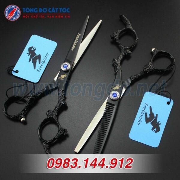 Bộ kéo feelander thép nhật tay rồng cao cấp (tặng kèm bao da đựng kéo cao cấp + 2 lược toniguy) 6 - kéo rồng đen1