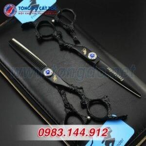 Bộ kéo feelander thép nhật tay rồng cao cấp (tặng kèm bao da đựng kéo cao cấp + 2 lược toniguy) 12 - kéo rồng đen2