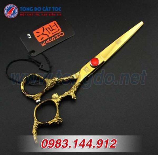 Bộ kéo cắt tóc kasho rồng vàng nhật bản (tặng kèm bao da đựng kéo cao cấp + 2 lược toniguy) 7 - keo kasho 2