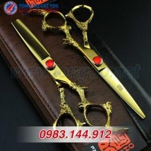 Bộ kéo cắt tóc kasho rồng vàng nhật bản (tặng kèm bao da đựng kéo cao cấp + 2 lược toniguy) 13 - keo kasho 3