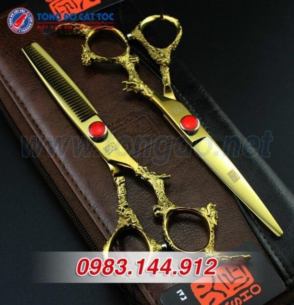 Bộ kéo cắt tóc kasho rồng vàng nhật bản (tặng kèm bao da đựng kéo cao cấp + 2 lược toniguy) 8 - keo kasho 3