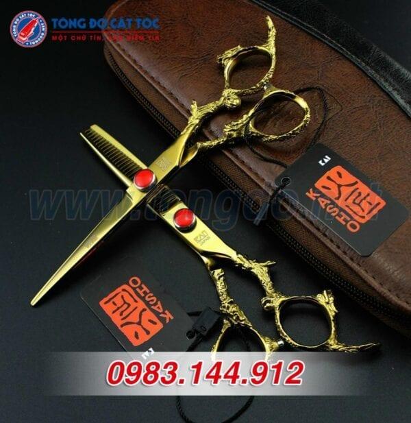 Bộ kéo cắt tóc kasho rồng vàng nhật bản (tặng kèm bao da đựng kéo cao cấp + 2 lược toniguy) 5 - keo kasho