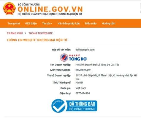 Đại lý tông đơ chính thức được duyệt hồ sơ tại cục thương mại điện tử và kinh tế số – bộ công thương 3 - thong bao website